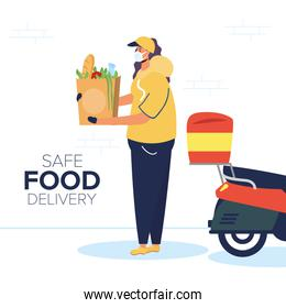safe food delivery female worker with groceries bag in motorcycle