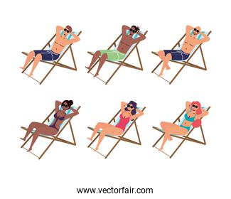 people in beach chairs summer vacations scene