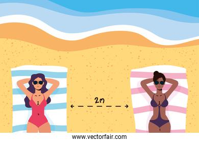 interracial women the beach practicing social distancing scene ,summer time vacations