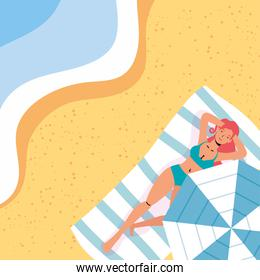 woman on the beach summer vacations scene