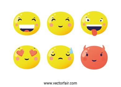 set of emojis faces funny characters