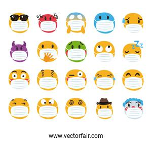 group of emojis wearing medical maskds characters