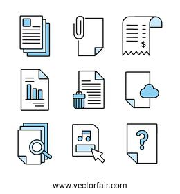 bundle of documents files office icons