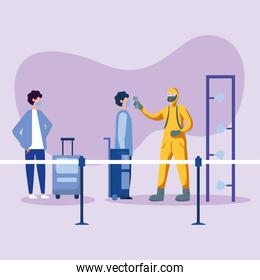 man with protective suit checking men temperature vector design