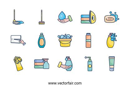 soap bar and cleaning products icon set, line fill style