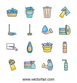 buckets and cleaning products icon set, line fill style