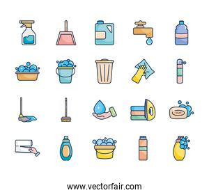 dustpan and cleaning products icon set, line fill style