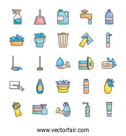 water faucet and cleaning products icon set, line fill style