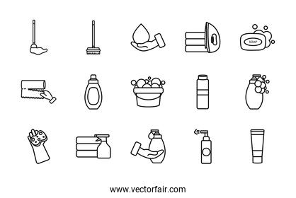 soap bar and cleaning products icon set, line style