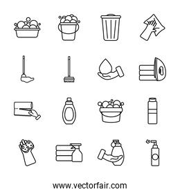 buckets and cleaning products icon set, line style