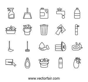 dustpan and cleaning products icon set, line style