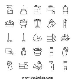 water faucet and cleaning products icon set, line style
