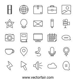 global sphere and web icons set, line style