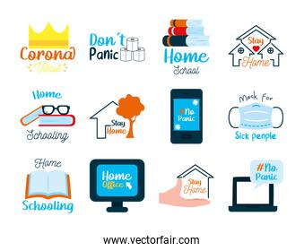 Coronavirus and stay at home icon set