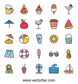 Summer fill and line style icon set vector design