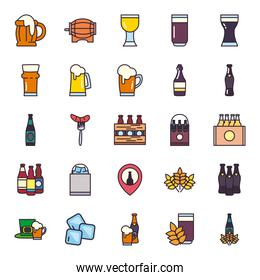 Beer festival line and fill style icon set vector design
