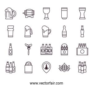 Beer festival line style icon set vector design