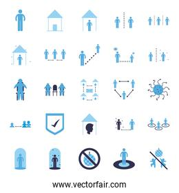 Social distancing flat style icon set vector design
