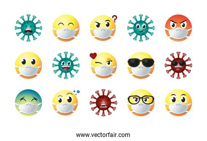 emojis with masks gradient style icon set vector design