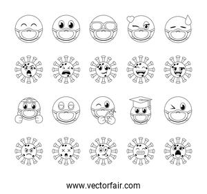 emojis with masks line style icon set vector design