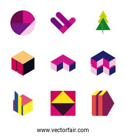 geometric and abstract 3d shapes flat style icon set vector design