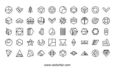 geometric and abstract 3d shapes line style icon set vector design