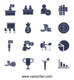 People flat style icon set vector design