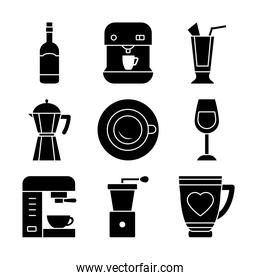 coffee machine and coffee drinks icon set, silhouette style