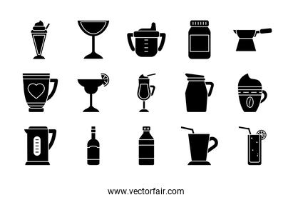 baby cup and coffee drinks icon set, silhouette style