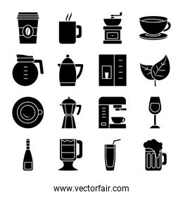 wine glass and coffee drinks icon set, silhouette style