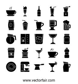 wine glass and coffee drinks icon set