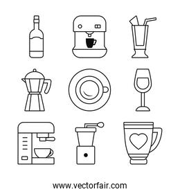 coffee machine and coffee drinks icon set, line style