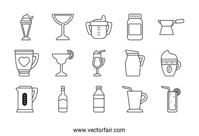 baby cup and coffee drinks icon set, line style