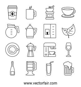 wine glass and coffee drinks icon set, line style
