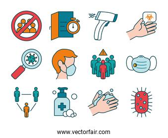 handwashing and stop coronavirus icon set, line and fill style