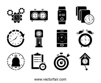 chess clocks and clock icon set, silhouette style