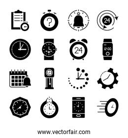 cellphone and time icon set, silhouette style