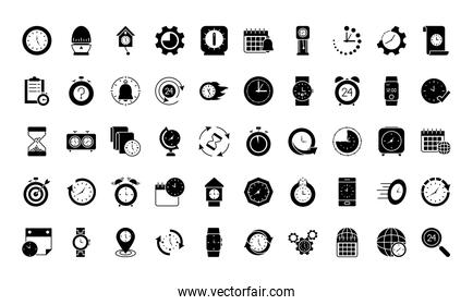 time and clocks icon set, silhouette style