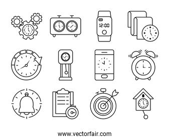 chess clocks and clock icon set, line style