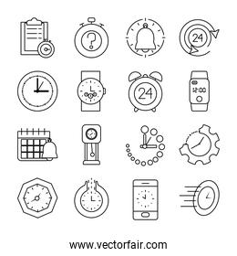 cellphone and time icon set, line style
