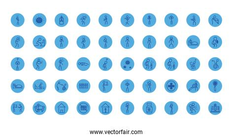 Medical care and covid 19 virus block style icon set vector design