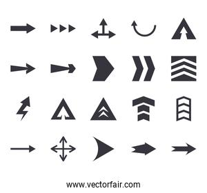 Arrows with differents directions flat style icon set vector design