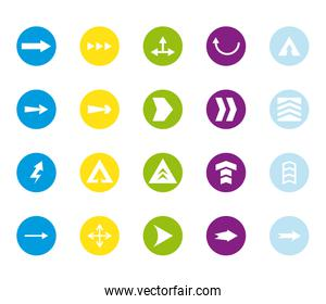 Arrows with differents directions block style icon set vector design
