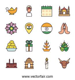 Indian fill style icon set vector design