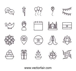 Indian line style icon set vector design