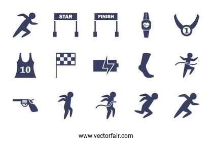 Running  silhouette  style icon set vector design