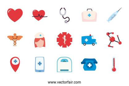 Medical flat style icon set vector design
