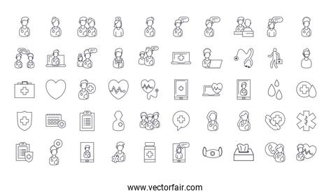 doctor and medical care line style icon set vector design