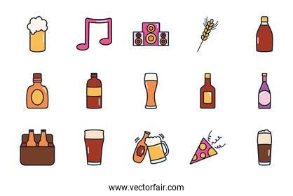 musical note and liquor bottles icon set, line fill style