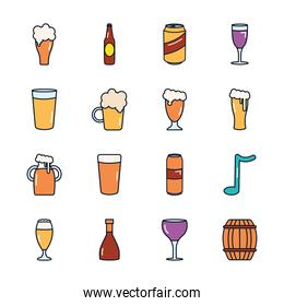 wooden barrel and beer glasses icon set, line fill style